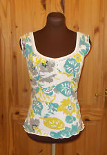 PER UNA off-white chartreuse turquoise floral broderie anglaise vest top 10 38
