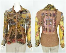 Womens Save the Queen Shirt Blouse Multicolored Long Sleeve Snap Nylon Size L