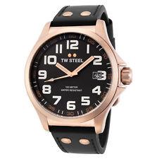 TW Steel TW416 Men's Pilot 45mm Rose Gold-Tone Black Dial Black Leather Watch