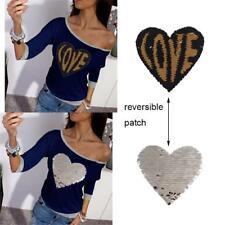 Amor corazón reversible cambio de color lentejuelas costura ropa Parches