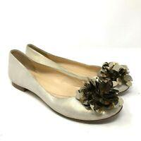 Kate spade metallic silver sequin pouf ballet flats womens size 6