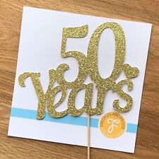 50 Years Cake Topper GOLD Glitter Card 50th Wedding Anniversary Cake Decoration