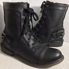 MATERIAL GIRL Women's Black Moto Lace Up Boots Zip/Buckle Size 7