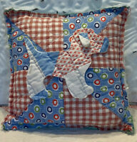 """NEW Handmade Dog Pillow Vintage Feed Sack Quilt Chenille Bedspread  7"""" x 7"""""""