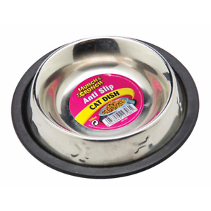 Cat Pet Kitty Bowl Supplies Small Metal Stainless Steel Anti Slip Dish 150ML UK