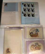 Vintage Blue Cat Kitty Kittens Stationery Sets