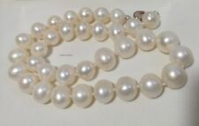Genuine sterling silver 12-13mm egg round freshwater pearl Necklace+earring set