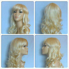 HIGH HEAT RESISTANT LONG WAVY HAIR WIGS BLONDE LADY WOMENS DAILY FULL WIG UK