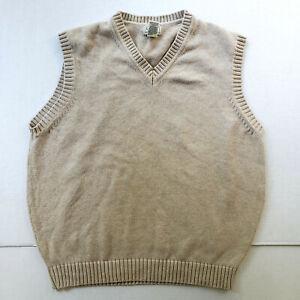 LL Bean Sweater Vest Men Large Beige Chunk Knit Cotton Sleeveless V Neck Preppy