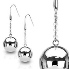Pair of Large 20mm Light Stainless Steel Ball Silver Earrings
