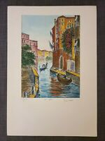 Original Bela Sziklay 1911-1981 Hand colored Etching VENICE, Pencil Signed