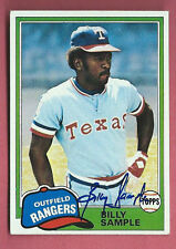 BILLY SAMPLE 1981 TOPPS Autograph Auto RANGERS  Signed