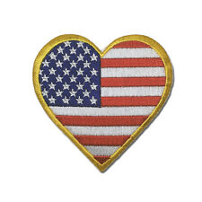Embroidered Gold Border Love US Flag Heart Sew or Iron on Patch Biker Patch