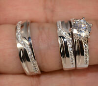 14k White Gold Over Trio Ring Set His & Hers Diamond Engagement Bridal Wedding