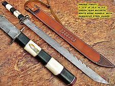 Custom Damascus Survival Tracker Knives Bear Skinner Hunter ONE OF A KIND 043