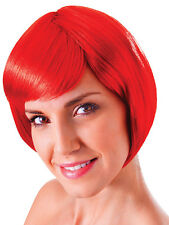Ladies Red Flirty Flick 20s Flapper Style Short Bob Wig Fancy Dress Accessory