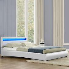 CORIUM® LED Doppelbett Polsterbett 180x200cm Bettgestell Bett Weiß Bettrahmen