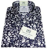 Relco Men's Navy Blue Floral Premium Long Sleeved Button Down Collar Shirt