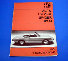Alfa Romeo Spider 1600 Libretto Uso e Manutenzione 1967 ORIGINALE