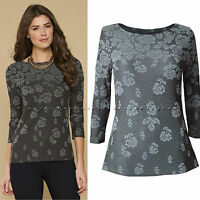 New Monsoon size 8 - 16 RRP £39 Grey Rose Floral Jacquard Pattern Tunic Top