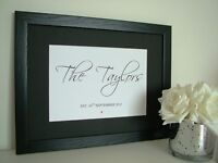 PERSONALISED  WEDDING GIFT FAMILY NAME PRINT WITH FRAME SIGN KEEPSAKE PLAQUE