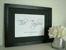 Wedding gift personalised name print framed