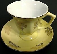 VINTAGE CUP & SAUCER. DEMITASSE YELLOW & GOLD FLORAL PATTERN. PEDESTAL CUP