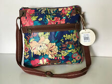 NEW! SAKROOTS ARTIST CIRCLE ROYAL FLOWER CROSSBODY MESSENGER SLING BAG SALE