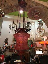 LAMPADA A SOSPENSIONE DELL'800 VETRO DIPINTO PENDANT LAMP