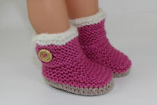 KNITTING INSTRUCTIONS-CHUNKY BABY FUR TRIM ONE BUTTON BOOTIES KNITTING PATTERN