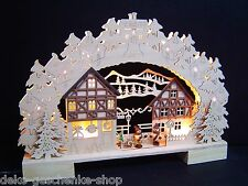 3d LED ARCOS DE LUCES arbotantes con 2 Niños Invierno 41cm Casa de madera 10027