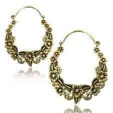 "PAIR 18g (1MM) BRASS TRIBAL FLOWER 1"" 3/4 INCH PLUGS EARRINGS GAUGES HANGERS EAR"