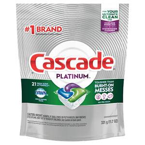 Cascade Platinum ActionPacs Dishwasher Detergent w/ Dawn, Fresh Scent, 21 Count