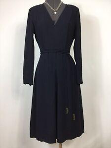 Whistles Navy Padded V Neck Inverted Pleat Belt Knee Dress UK 8 Smart Casual