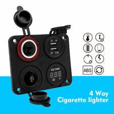 12V-24V Car Cigarette Lighter Socket Dual USB Port Charger Voltmeter Panel 4 Way