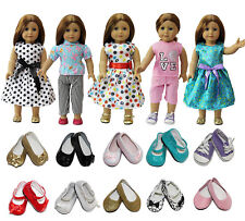 5sets Costumes Gown Clothes Dress +2 Shoes for America 18 Inch Girl Doll Gifts