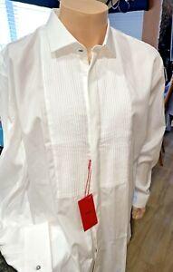 Hugo Boss 17.5 White French-Cuff W/Silver Cuff Links Tuxedo Shirt NEW  YZZ