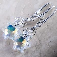 925 pendientes de Plata Hecho con Cristales de Swarovski Rivoli 14mm-Azul Real F