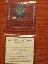 ICCS Graded VF-20, 1858 Twenty 20 Cents Silver Canada, Silver,Queen Victoria