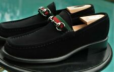 Men Gucci Loafers Shoes Black Suede Green Red Ribbons mint ( 9.5 US) 8.5 G