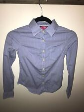 DEAR by Amanda Bynes Slate Blue Striped Shirt Size XS