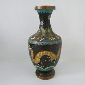 CHING DYNASTY 19THC BLACK CLOISONNE CYLINDER VASE WITH DRAGON PATTERN