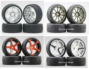 1/10 Onroad Rc Car Wheels Tires Set For Hpi Rs4  Tamiya tt01e tt02 Traxxas 4tec