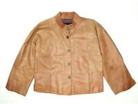 Giorgio Armani Womens Jacket 42 Brown Buffalo Leather Snap Front Coat Patchwork