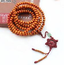 Orange Tibetan Buddhist prayer beads 216 Sandal beads bracelet necklace