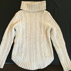 Duluth Trading Beige Fisherman Cable Knit Wool Blend Turtleneck L/S Sweater XS