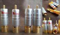 Nakamichi SOLDERLESS 5 pair RCA Phono Plugs Genuin Gold 24K Plated -10 Unidades