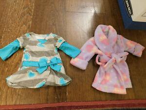 "18"" Doll Clothes Lot Dollie & Me Purple Cupcake Bath Robe & Grey Teal Dress CUTE"