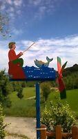 SEGNAVENTO ANIMATO PESCATORE IN LEGNO ARTIGIANALE 100%MADE IN ITALY - WHIRLIGIG