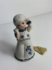 Vintage Jasco Royal Majestic Blue & White Bisque 5� Bell Woman W/ Teddy Figurine